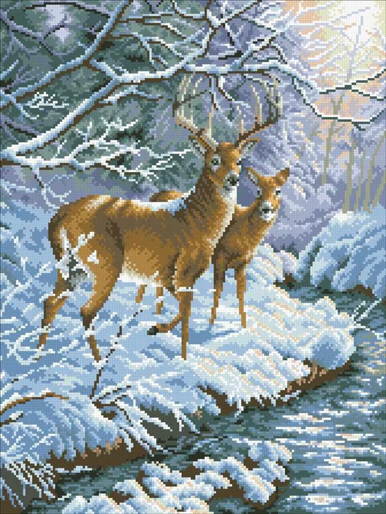 М332 Олени в заснеженном лесу - мозаика (Паутинка)
