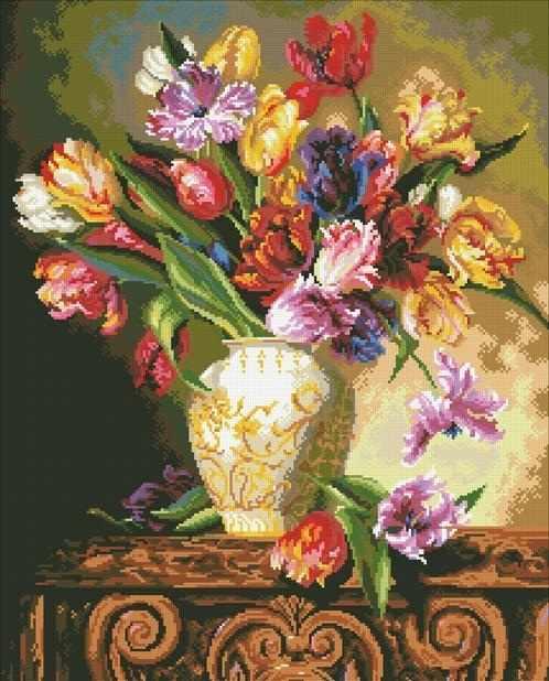 М223 Букет тюльпанов - мозаика (Паутинка)