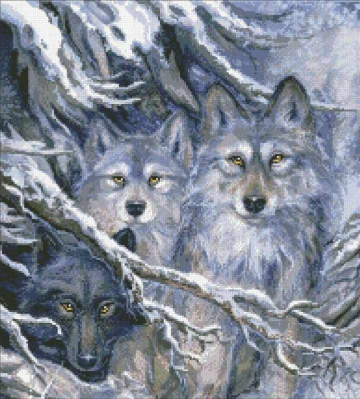 М302 Волки - мозаика (Паутинка)