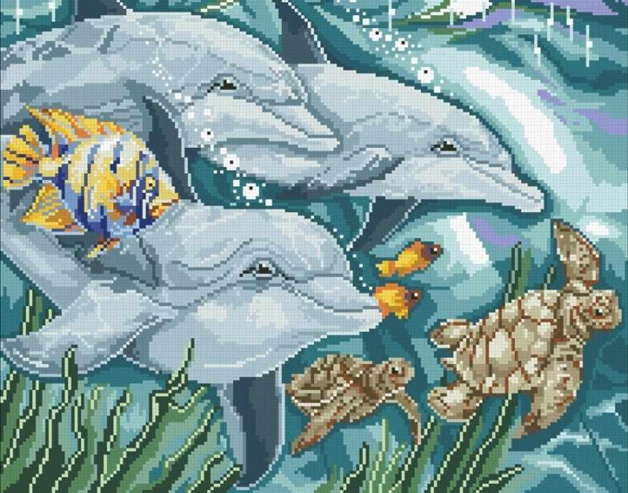 М310 Дельфины - мозаика (Паутинка)