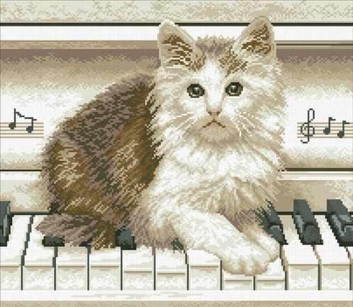 М331 Котенок на пианино - мозаика (Паутинка)