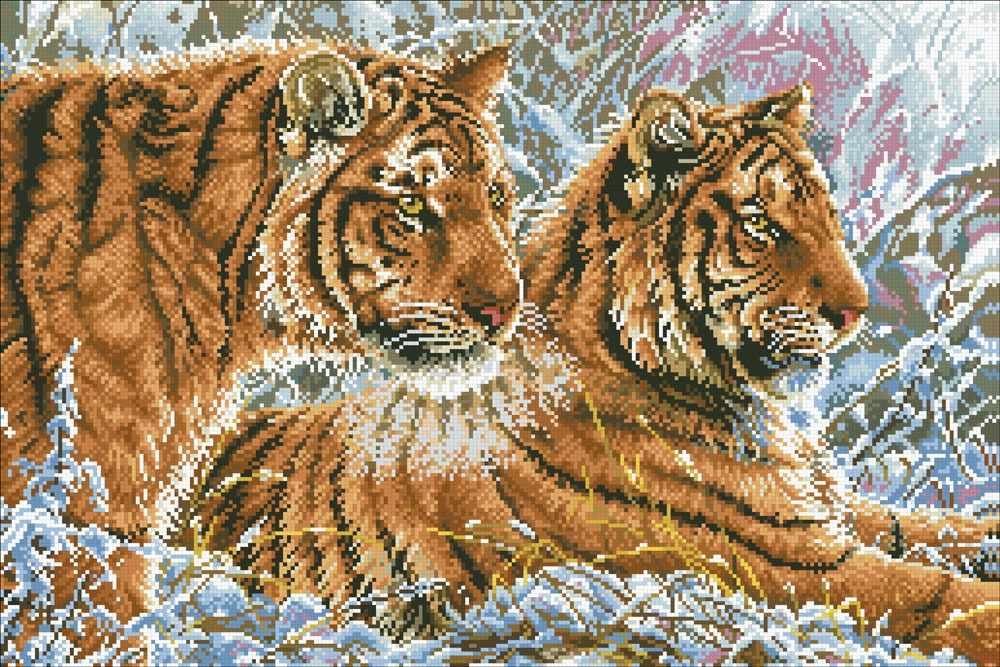 М339 Пара тигров   - мозаика (Паутинка)
