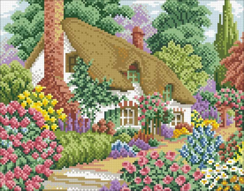 М422 Домик в цветах - мозаика (Паутинка)
