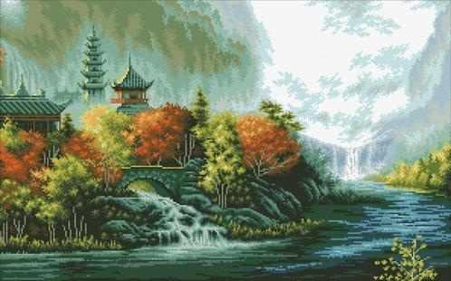 М430 Китайский пейзаж - мозаика (Паутинка)