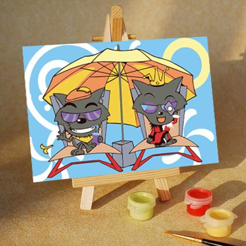 MA113 Котята под зонтом - раскраска (Menglei)
