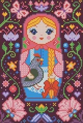 Матрёшка с курочкой (АЖ-1323) - картина стразами