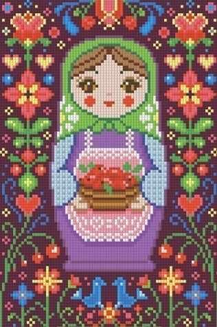 Матрёшка с яблоками (АЖ-1325) - картина стразами