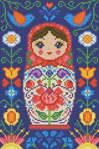 Матрёшка в цветах (АЖ-1324) - картина стразами