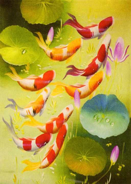 ME097 Рыбки в пруду - раскраска (Menglei)