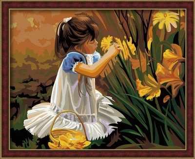 MG030 Девочка с цветами - раскраска (Menglei)