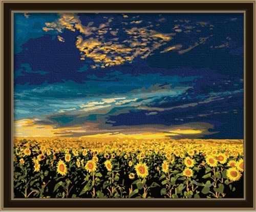 MG042 Небо над подсолнуховым полем - раскраска (Menglei)