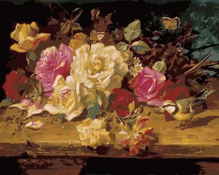MG2016 Розы на столе - раскраска (Menglei)