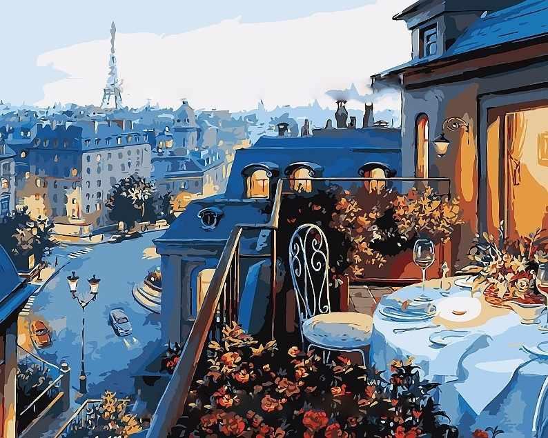 MG548 Веранда в Париже - раскраска (Menglei)