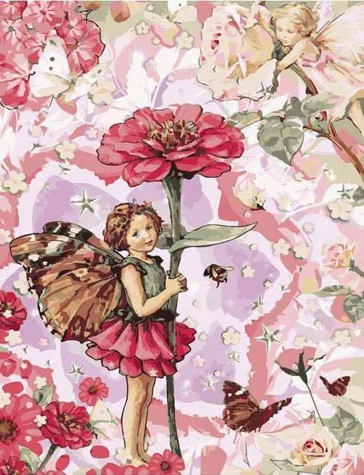 MMC069 Маленькая фея в цветах - раскраска (Menglei)