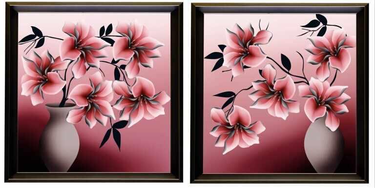 N-263 Цветы в вазе, диптих - мозаика Милато
