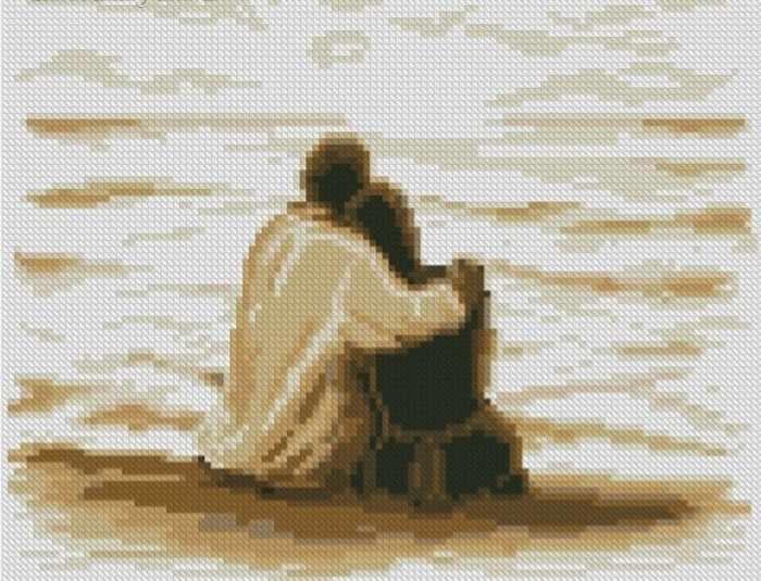 «На берегу моря» (АЖ-1121) - картина стразами