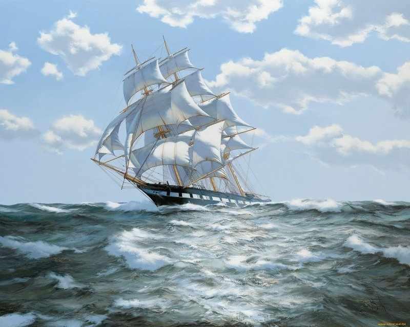 На всех парусах (АЖ-1059) - картина стразами