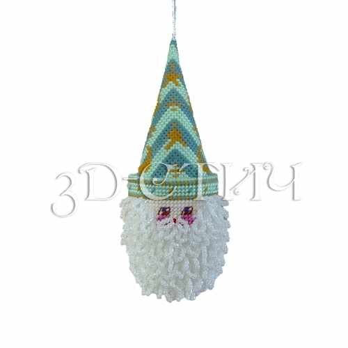 """НГ012-2 Игрушка на елку """"Санта"""" зеленый (3D)"""