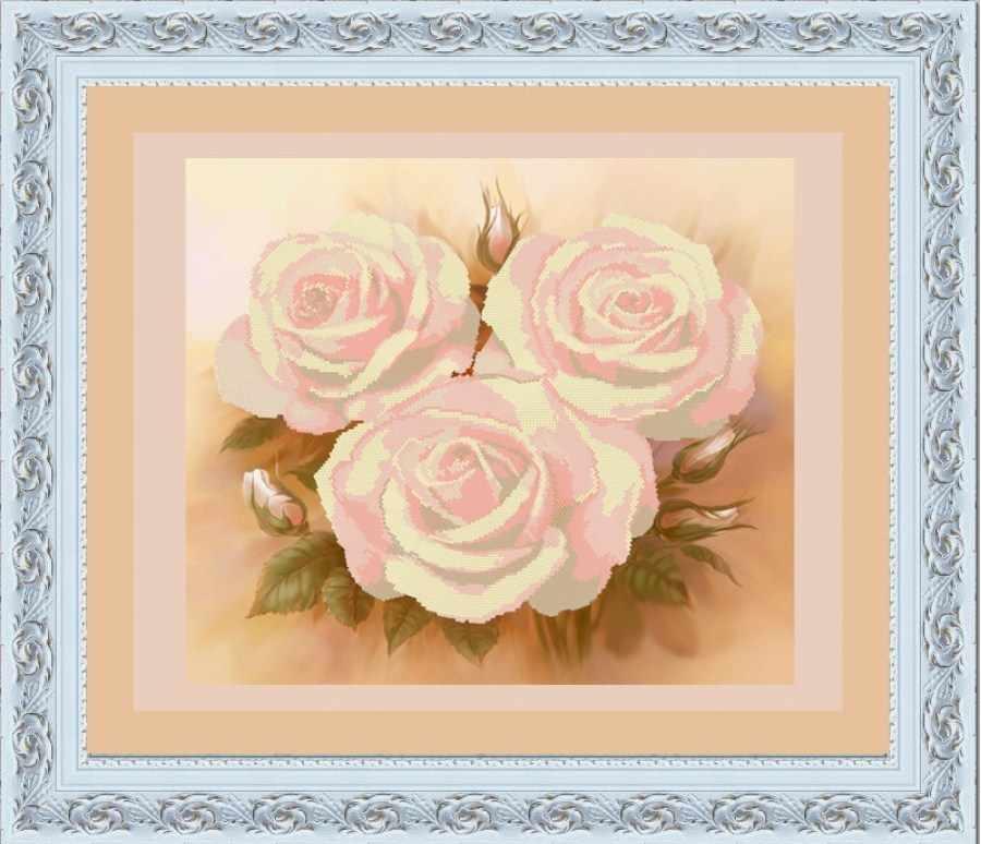 НИК 9515 Розовые розы (круг. техника) - схема для вышивания