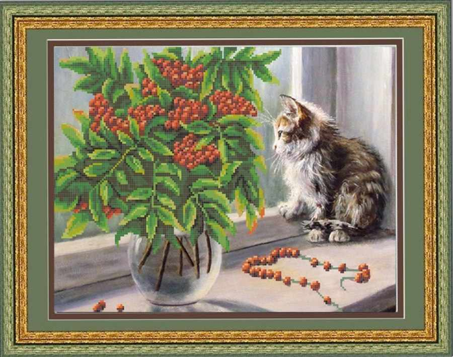 НИК 9662 Рябина и котенок - схема для вышивания