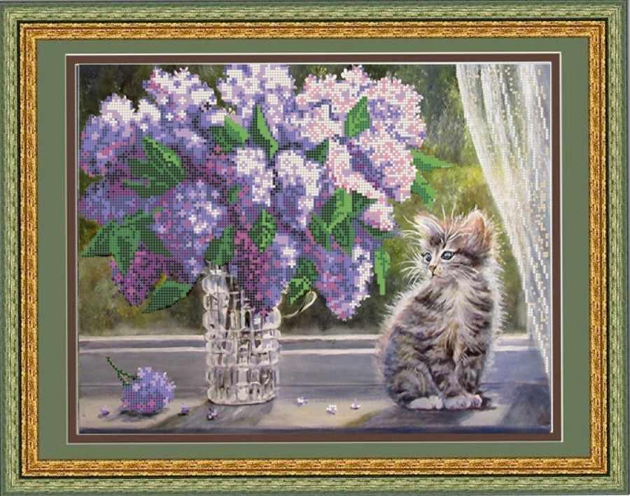 НИК 9663 Сирень и кошка - схема для вышивания
