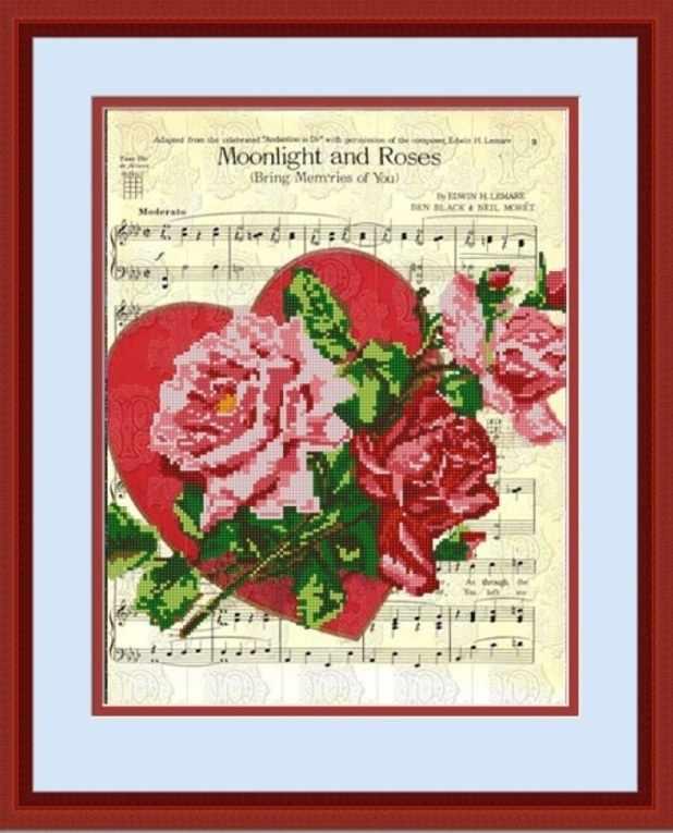 НИК 9759 Лунный свет и розы - схема для вышивания