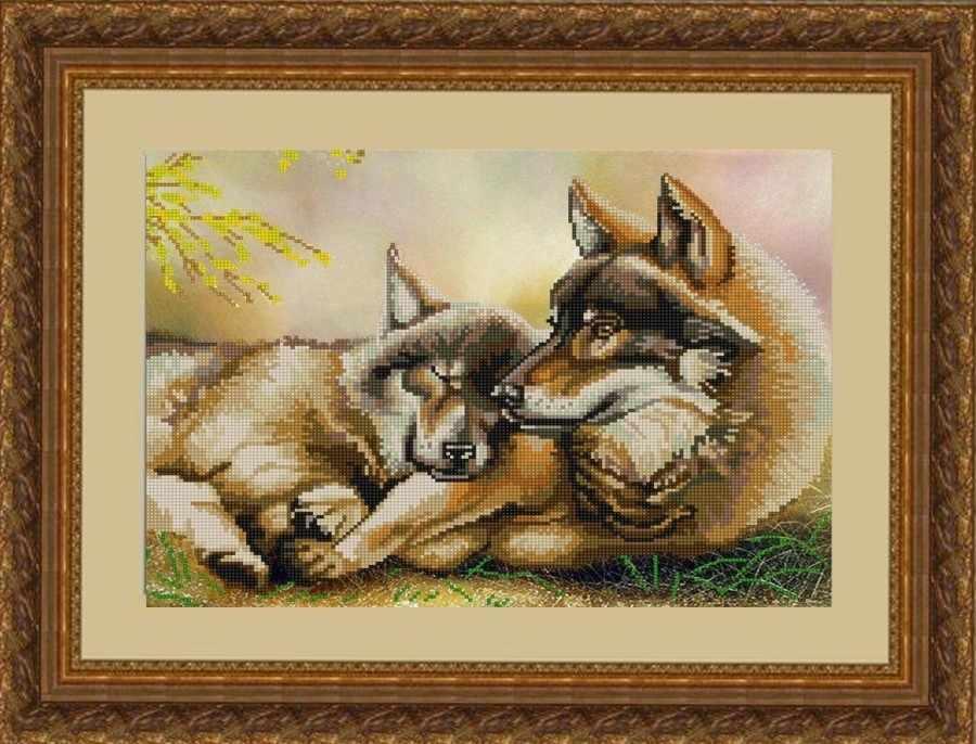 НИК 9797 Пара волков - рисунок на ткани