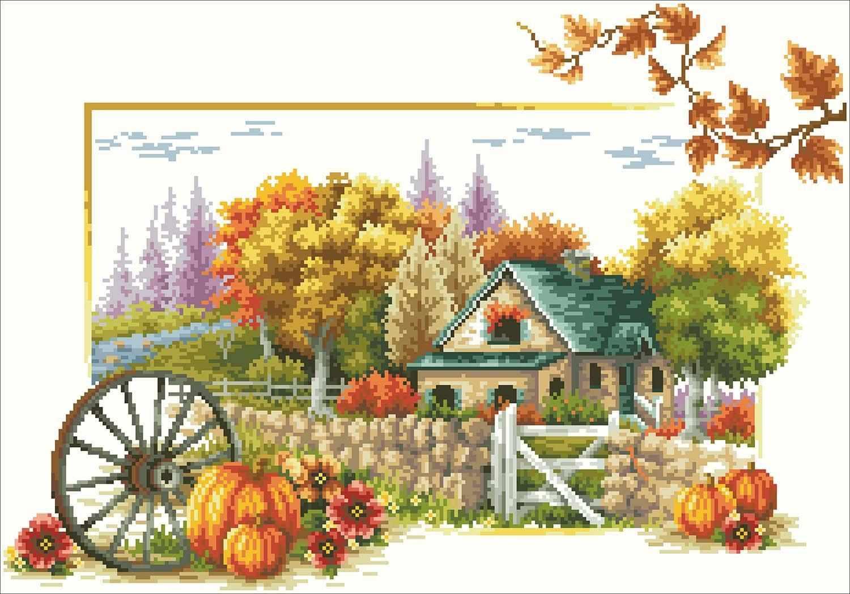 Осенний пейзаж (АЖ-42) - картина стразами
