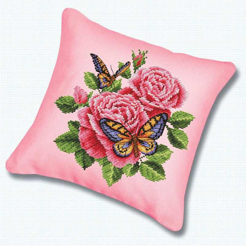 Подушка 137 Бабочки и розы канва розовая (Белоснежка)