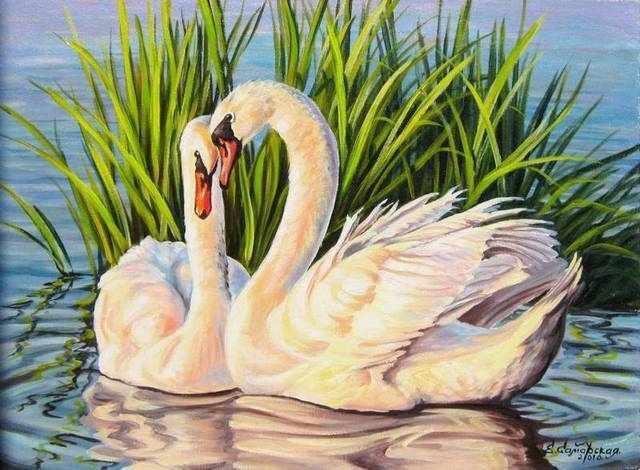 R-0834 Лебеди на озере