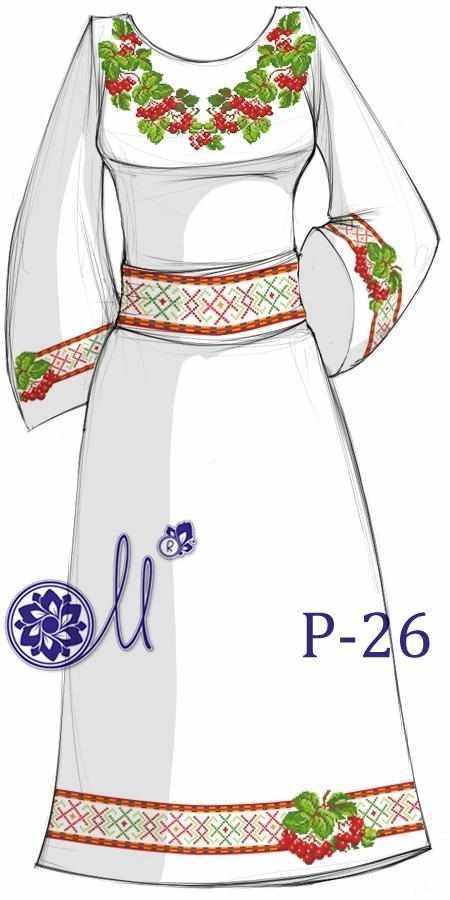 Р-26 Заготовка платья  лён (Мережка)