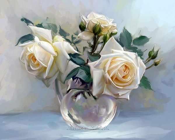 RDG-0933 Три розы в стеклянной вазе