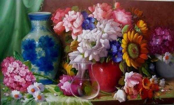 RDG-1004 Натюрморт цветы и вазы