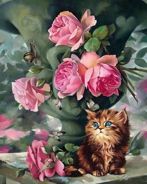 RDG-1244 Розы и котенок