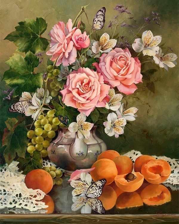RDG-1249 Натюрморт розы и абрикосы