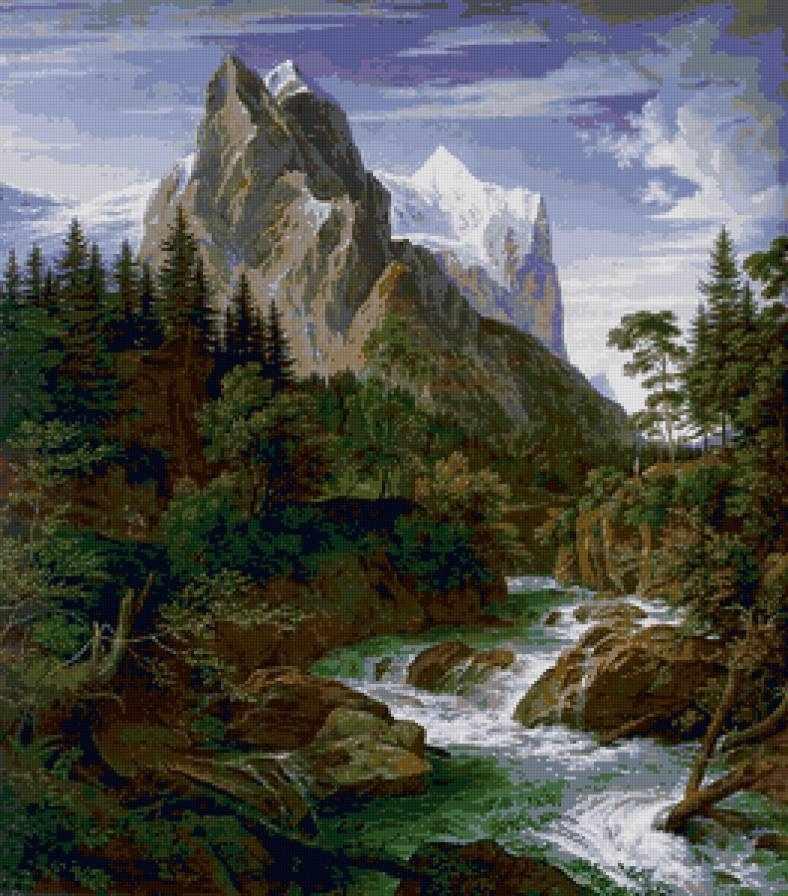 Река у подножья горы (АЖ-1138) - картина стразами