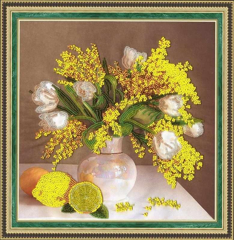 РТ-007 Мимоза и тюльпаны. Рисунок на ткани