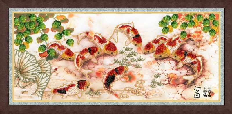 РТ-028 Японские карпы. Рисунок на ткани
