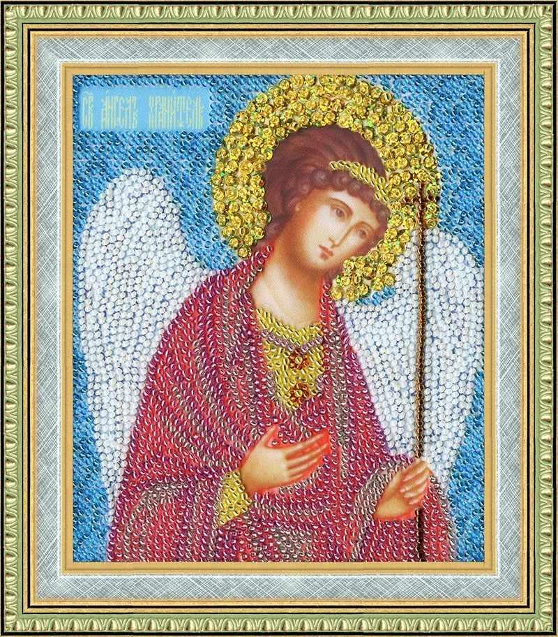 РТ-034 Икона Ангел Хранитель (пайетки). Рисунок на ткани