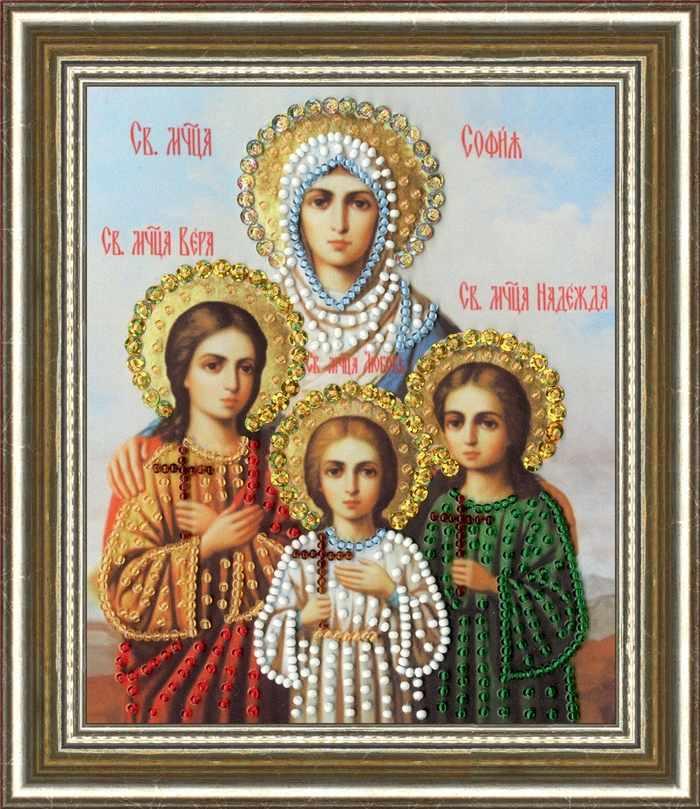 РТ-136 Икона Святых Мучениц Веры Надежды Любви и матери их Софии. Рисунок на ткани