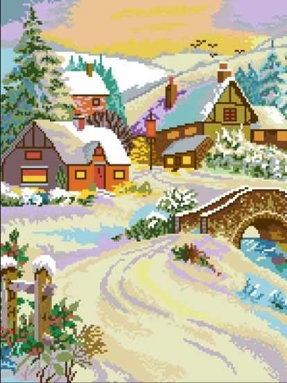 Русская зима (АЖ-529) - картина стразами