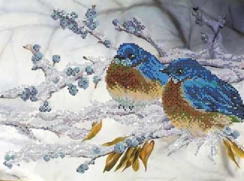 "S-115 ""Зимние птицы"" - рисунок на ткани"