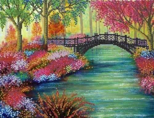 "S-168 ""Цветущие берега"" - рисунок на ткани"
