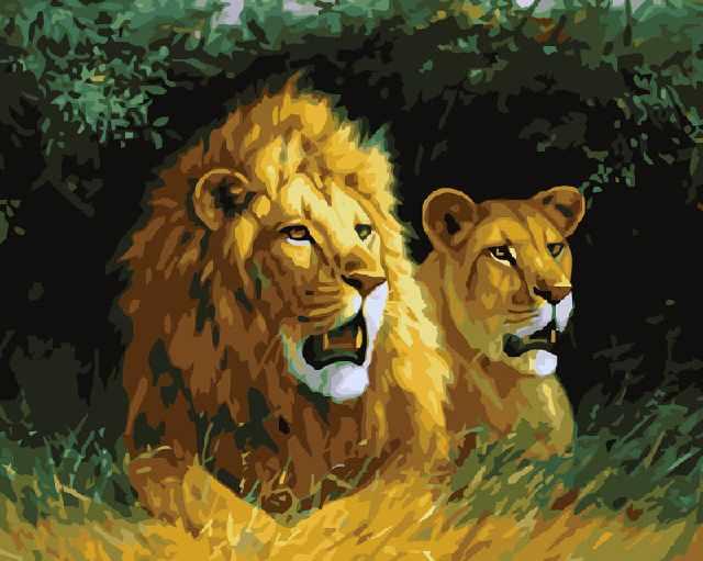 SG005 Царь зверей - мозаика из страз (Цветной)