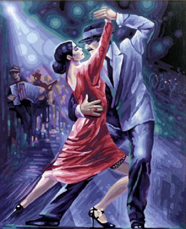 SG035 Танго в ночи - мозаика из страз (Цветной)