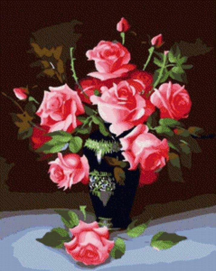 SG037 Букет роз - мозаика из страз (Цветной)