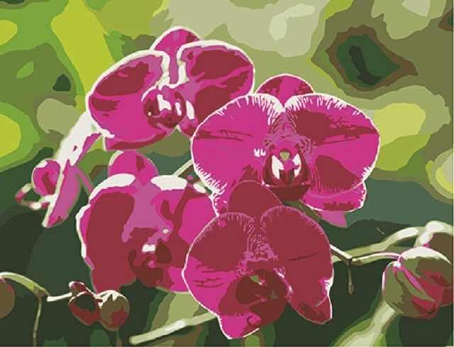SG064 Ветка орхидеи - мозаика из страз (Цветной)