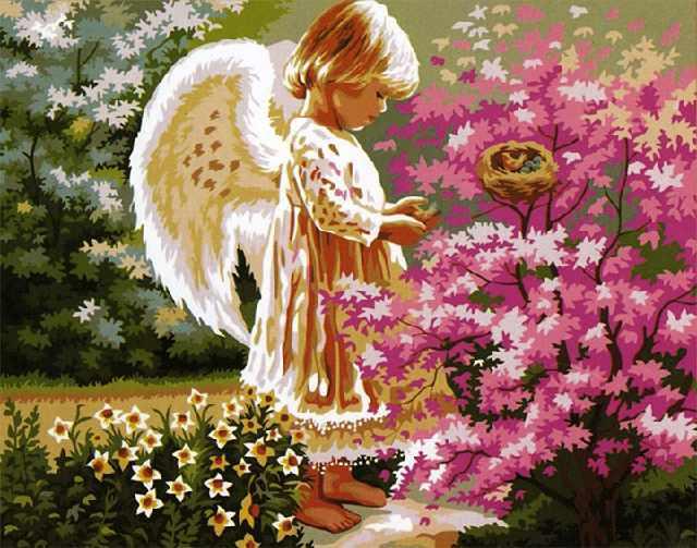 SG082 Ангел хранитель - мозаика из страз (Цветной)