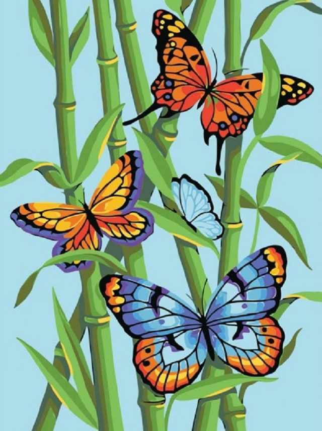 SG094 Бабочки и бамбук - мозаика из страз (Цветной)