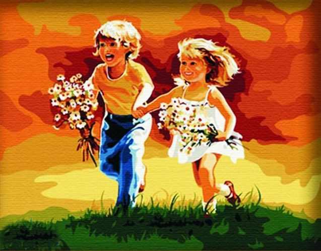 SG151 Побежали - мозаика из страз (Цветной)